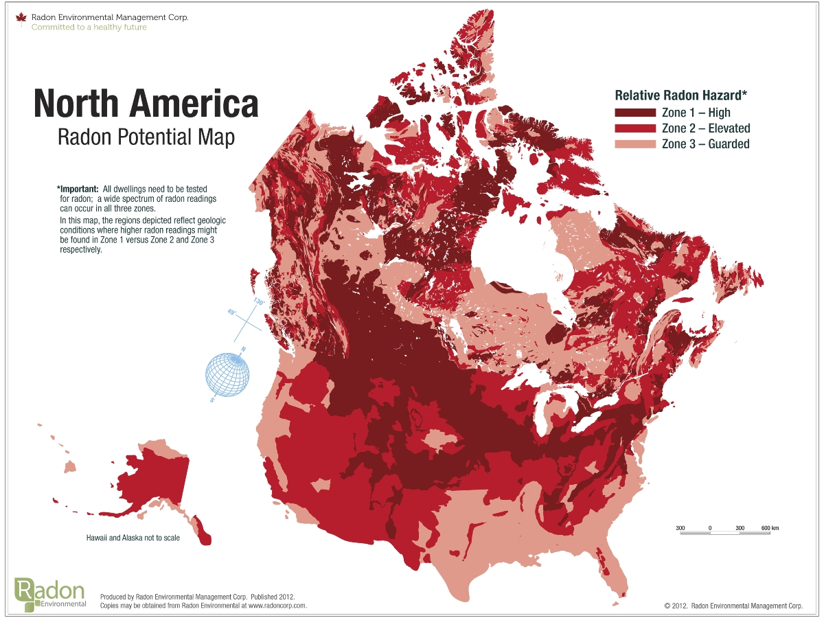 North America Radon Potential Map